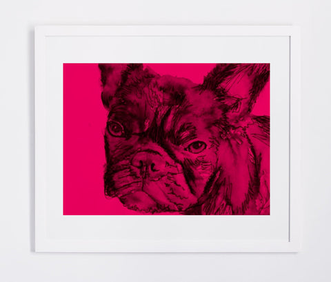 French Bulldog watercolor art print print deep pink vivid colors pop art home decor Frenchie French Bull puppy dog gift idea wall art print - Dog portraits by Oscar Jetson