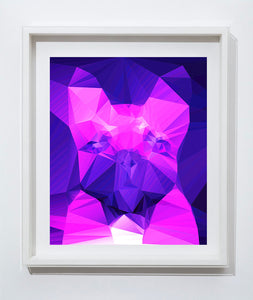 French bulldog Vivid Pink Purple Abstract art print, Cubist style, modern colorful dog art, wall art print home decor french bulldog art - Dog portraits by Oscar Jetson