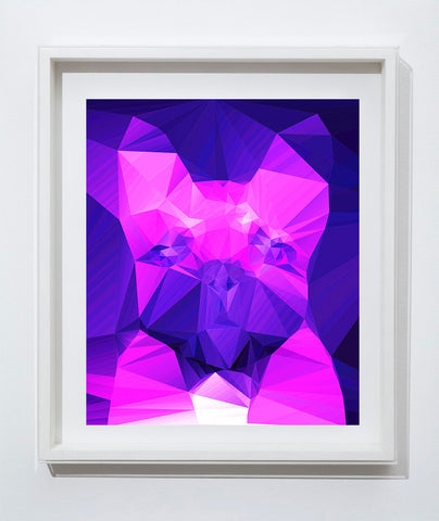French bulldog Vivid Pink Purple Abstract art print, Cubist style, modern colorful dog art, wall art print home decor french bulldog art - Dog portraits by Oscar Jetson - 1