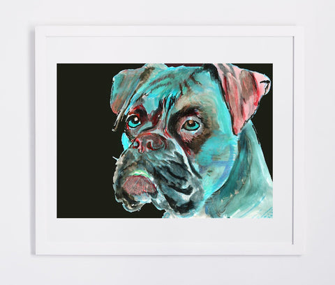 Boxer Dog painting art print, topaz blue, Aqua marine,Topaz Blue and crimson abstract boxer dog wall art home decor boxer dog gift idea - Dog portraits by Oscar Jetson