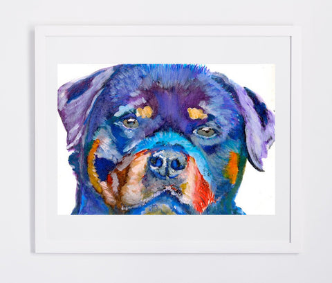 Rottweiler dog art print Colorful Watercolor Painting, canine, home decor, teal, topaz blue,topaz blue bronze orange abstract dog print - Dog portraits by Oscar Jetson