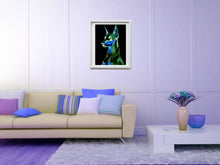 Load image into Gallery viewer, Doberman art doberman pinscher wall art print Dog gift idea ,Colorful Abstract home decor animal print  Doberman Portrait Art print - Dog portraits by Oscar Jetson