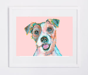 Jack Russell art print, Colorful dog watercolor and acrylic portrait, Animal art, home decor Pink, Turquoise, topaz Jack Russell owner gift - Dog portraits by Oscar Jetson