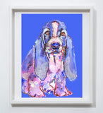 Basset Hound art print dog painting, puppy, cute, Blue purple home decor, hand signed watercolor acrylic basset hound dog - Dog portraits by Oscar Jetson