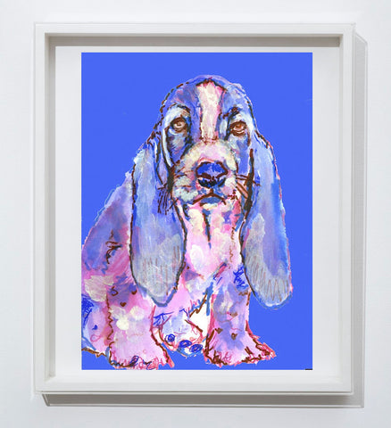 Basset Hound art print dog painting, puppy, cute, Blue purple home decor, hand signed watercolor acrylic basset hound dog - Dog portraits by Oscar Jetson - 1