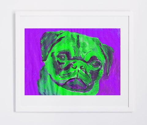 Pug art Canvas Print dog portrait Green Purple home decor colorful Abstract Pug dog canvas art print Pug gift idea - Dog portraits by Oscar Jetson