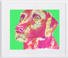 Load image into Gallery viewer, Labrador art print Dog Painting wall art Print home decor, Magenta Purple, Pink  Labrador gift idea dog print Abstract Labrador - Dog portraits by Oscar Jetson