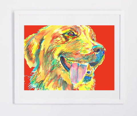 Golden Retriever art print signed Yellow Red home decor, dog art, puppy,Abstract dog portrait print Golden Retriever gift idea - Dog portraits by Oscar Jetson