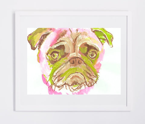 Pug Painting print, Pug dog Portrait, Gift for Pug owner, Colorful Green and pink Abstract Pug Watercolor and Acrylic sad pug print - Dog portraits by Oscar Jetson