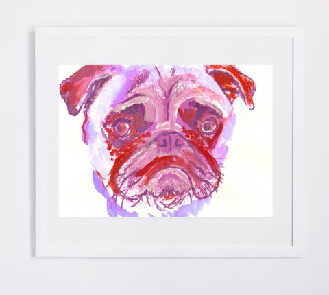 Pug art print, Purple pink and red, Colorful sad Pug Art  8 x 10 Watercolor and Acrylic Pug owner gift idea, dog painting, pug painting, pug - Dog portraits by Oscar Jetson - 1