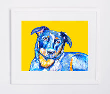 Load image into Gallery viewer, Beauceron Art Print, artist signed ,Vivid Blue and Yellow Orange dog art home decor gift idea, dog lover,watercolor wall art print beauceron - Dog portraits by Oscar Jetson