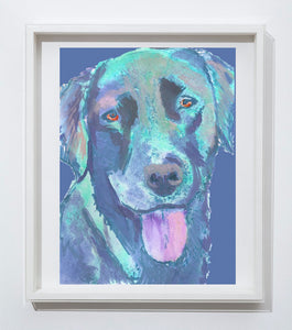 Labrador dog art print Colorful abstract aqua marine dog portrait Aquamarine, dog painting, home decor,doglover gift idea Blue Labrador - Dog portraits by Oscar Jetson