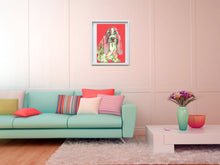 Load image into Gallery viewer, Basset Hound Dog Painting Basset Hound Art print Red - Dog portraits by Oscar Jetson