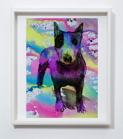 English Bull Terrier art print, home decor,colorful watercolor print Pink Aqua marine,yellow wall art, dog art, animal painting,English Bull - Dog portraits by Oscar Jetson - 1