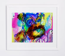 Load image into Gallery viewer, Schnauzer owner gift, dog Art print, Aqua marine Yellow pink, Abstract Schnauzer Dog watercolor painting,Schnauzer wall art print - Dog portraits by Oscar Jetson