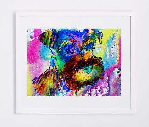 Schnauzer owner gift, dog Art print, Aqua marine Yellow pink, Abstract Schnauzer Dog watercolor painting,Schnauzer wall art print - Dog portraits by Oscar Jetson