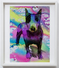 Load image into Gallery viewer, English Bull Terrier art print, home decor,colorful watercolor print Pink Aqua marine,yellow wall art, dog art, animal painting,English Bull - Dog portraits by Oscar Jetson