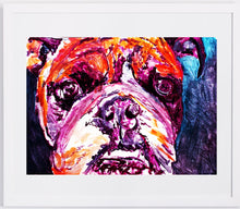Load image into Gallery viewer, Bulldog wall print, abstract english bulldog art print, watercolor abstract art,home decor dog, painting of bulldog,Orange purple bulldog - Dog portraits by Oscar Jetson