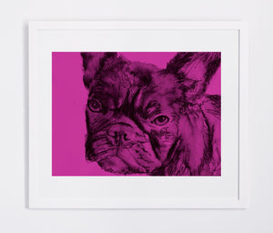 French Bulldog Frenchie wall print watercolor painting art Poster print Modern home decor frenchie gift idea - Dog portraits by Oscar Jetson
