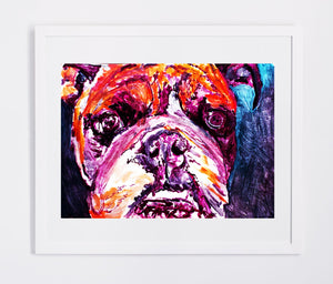 Bulldog wall print, abstract english bulldog art print, watercolor abstract art,home decor dog, painting of bulldog,Orange purple bulldog - Dog portraits by Oscar Jetson