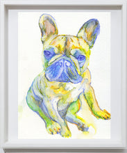 Load image into Gallery viewer, French bulldog painting yellow blue frenchie dog watercolor acrylic wall art print, animal watercolor gift idea, french bulldog print - Dog portraits by Oscar Jetson