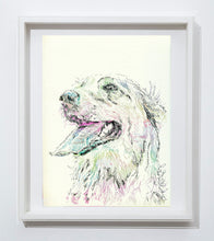 Load image into Gallery viewer, Golden retriever art print,dog drawing, colorful dog art, pen and ink, Golden retriever picture,dog portrait, golden retriever owner gift - Dog portraits by Oscar Jetson