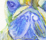 French bulldog painting yellow blue frenchie dog watercolor acrylic wall art print, animal watercolor gift idea, french bulldog print - Dog portraits by Oscar Jetson