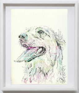 Golden retriever art print,dog drawing, colorful dog art, pen and ink, Golden retriever picture,dog portrait, golden retriever owner gift - Dog portraits by Oscar Jetson