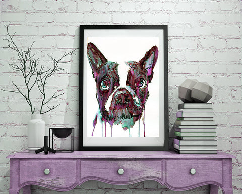 Abstract French Bulldog Painting, French Bulldog owner gift, Purple Black Aquamarine, watercolor print, French Bull Dog wall art print - Dog portraits by Oscar Jetson - 1