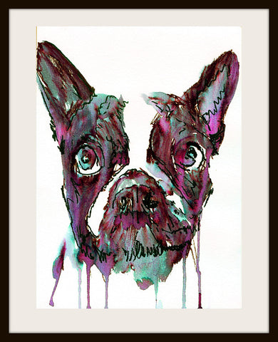 Abstract French Bulldog Painting French Bulldog Owner Gift Purple Black Aquamarine Watercolor Print French Bull Dog Wall Art Print