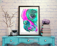 Load image into Gallery viewer, French Bulldog painting art  Print Artist hand Signed from original watercolor painting of frenchie aquamarine, pink  french bulldog print - Dog portraits by Oscar Jetson