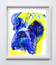 Load image into Gallery viewer, Boxer Dog painting print, abstract boxer wall art, Colorful Boxer dog, Boxer owner gift idea, funny Boxer dog print - Dog portraits by Oscar Jetson