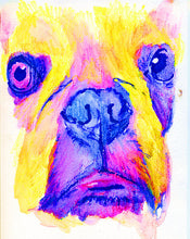 Load image into Gallery viewer, French Bulldog painting, French Bulldog watercolor,candy floss pink yellow,frenchie gift for french bulldog owner, French bulldog picture - Dog portraits by Oscar Jetson