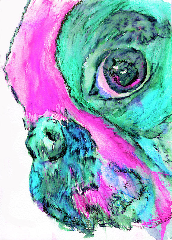 French Bulldog painting art  Print Artist hand Signed from original watercolor painting of frenchie aquamarine, pink  french bulldog print - Dog portraits by Oscar Jetson