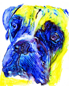 Boxer Dog painting print, abstract boxer wall art, Colorful Boxer dog, Boxer owner gift idea, funny Boxer dog print - Dog portraits by Oscar Jetson
