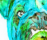 Bulldog art print from original watercolor Painting,electric blue wall art Print english Bulldog gift hand signed English bulldog art print - Dog portraits by Oscar Jetson - 2