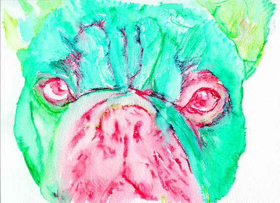 French Bulldog dog painting watercolor art Print Artist hand Signed from original painting of frenchie aquamarine, pink french bulldog print - Dog portraits by Oscar Jetson