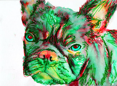 French Bulldog Dog Painting Green red, French Bull art Print watercolor Frenchie  Art french bulldog gift  french bulldog art print - Dog portraits by Oscar Jetson - 1
