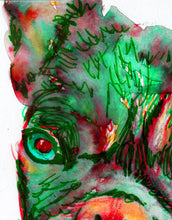 Load image into Gallery viewer, French Bulldog Dog Painting Green red, French Bull art Print watercolor Frenchie  Art french bulldog gift  french bulldog art print - Dog portraits by Oscar Jetson