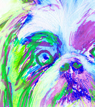 Load image into Gallery viewer, Lhasa Apso dog painting abstract wall art Print colorful Hand signed green Blue purple pet art gift idea painting of Lhasa Apso dog print - Dog portraits by Oscar Jetson