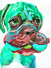 Load image into Gallery viewer, Boxer Dog painting abstract wall art watercolor Print colorful Hand signed Aquamarine turquoise Blue dog art gift idea Boxer dog print - Dog portraits by Oscar Jetson