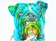 Load image into Gallery viewer, Bulldog art print from original watercolor Painting,electric blue wall art Print english Bulldog gift hand signed English bulldog art print - Dog portraits by Oscar Jetson