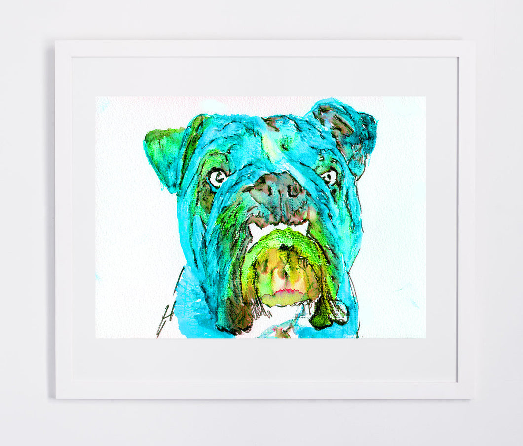 Bulldog art print from original watercolor Painting,electric blue wall art Print english Bulldog gift hand signed English bulldog art print - Dog portraits by Oscar Jetson