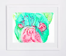 Load image into Gallery viewer, French Bulldog dog painting watercolor art Print Artist hand Signed from original painting of frenchie aquamarine, pink french bulldog print - Dog portraits by Oscar Jetson