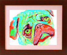Load image into Gallery viewer, Pug Dog art Print Watercolor, wall Art Aqua marine and red pug painting print, Watercolor Pug puppy dog home decor gift idea pug print - Dog portraits by Oscar Jetson