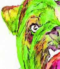 Load image into Gallery viewer, Bulldog painting art print from original watercolor Painting,vibrant green wall art Print painting of english Bulldog gift bulldog art print - Dog portraits by Oscar Jetson