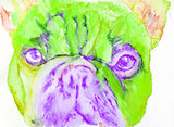 French Bulldog painting watercolor fine art Print Artist Signed from original painting of frenchie green, purple french bulldog print - Dog portraits by Oscar Jetson
