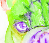 French Bulldog painting watercolor fine art Print Artist Signed from original painting of frenchie green, purple french bulldog print - Dog portraits by Oscar Jetson - 2