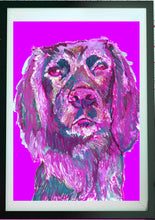 Load image into Gallery viewer, Cocker Spaniel Painting Pink, working cocker Print , fine art dog print Gun Dog Art cocker gift working cocker spaniel painting art print - Dog portraits by Oscar Jetson