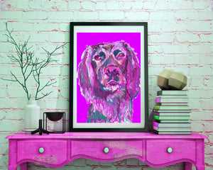 Cocker Spaniel Painting Pink, working cocker Print , fine art dog print Gun Dog Art cocker gift working cocker spaniel painting art print - Dog portraits by Oscar Jetson